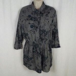 Natural Reflections shirt L Gray floral Long sleev